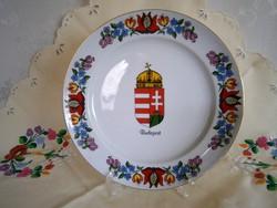Eredeti Kalocsai porcelán falitál, fali tányér, Magyar címerrel 24 cm átmérő 2-es