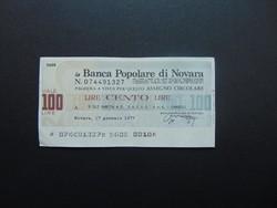 100 lira 1977 csekk Olaszország