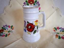 Eredeti Kalocsai porcelán sörös korsó, kupa 20 cm magas