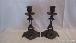 Antik bronz gyertyatartó pár