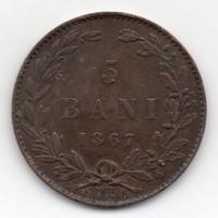 Románia 5 román bani, 1867, szép