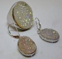 Különleges design ezüst druzy opál ékszerszett