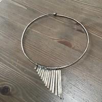 Régi kézműves ezüst merev nyaklánc