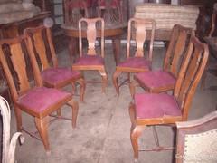 Hat darab barokk fatámlás ebédló szék.