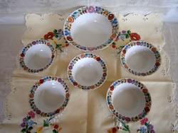 Eredeti Kalocsai porcelán kompótos készlet: 1 nagy és 5 kisebb tál