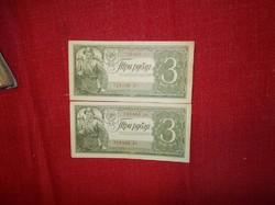 Három rubel egymást követő sorszámmal