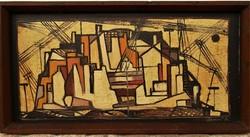 .Hámori Béla (1940-2004) 60-as évek konstruktivista tájkép olajfestménye EREDETI GARANCIÁVAL