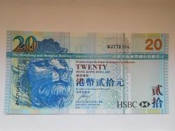 Hong Kong 20 dollár 2009 UNC