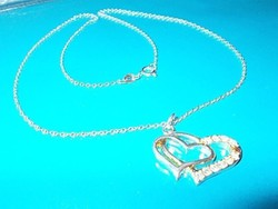 Szív a szívben CZ kr 925 ezüst- fehérarany Nyaklánc