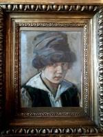 Gara Arnold (1882-1929) Sapkás fiú portré festmény