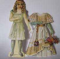 Antik jellegű papír baba, papírbaba ruhákkal együtt-nagy méretű
