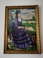 Lila ruhás nő gobelin
