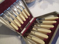 Antik angol (Sheffield) halas evőeszköz-készlet rozsdamentes pengékkel, dobozában. 6 személyes
