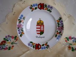 Eredeti Kalocsai porcelán falitál, fali tányér, Magyar címerrel 24 cm átmérő 3-as