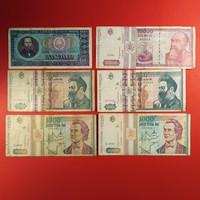 Románia 6db lei bankjegy 1966-94 NSZ