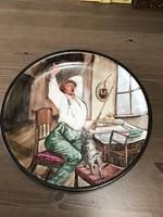 Régi kézzel festett porcelán fali dísztányér HABITAT - Ibolyáné