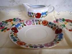 Eredeti Kalocsai porcelán 2 részes szószos tál, kiöntő