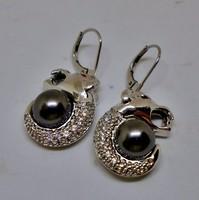 Szép ezüst hematit gyöngyös fülbevaló