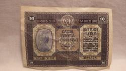 10 Líra 1918 papírpénz