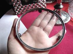 Antik ezüst vagy ezüstözött peremes üvegtálca