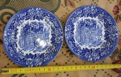 Delft blue tányér, egy hibátlan, és egy ugyanolyan, de ragasztott, 12 cm környékén