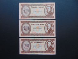 3 darab 5000 forint 1990 H Sorszámkövető egy középső függőleges köteghajtás !