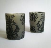 Dekoratív retró bársonnyal díszített mécsestartó üvegek