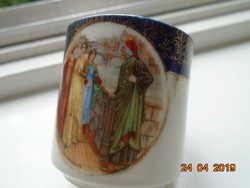 Dante és Beatrice egy 19 sz.szignós angol festmény nyomatával nagyon ritka Birodalmi mokkás csésze