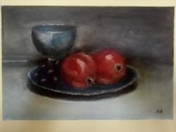 Asztali csendélet gránátalmákkal c. olajfestmény