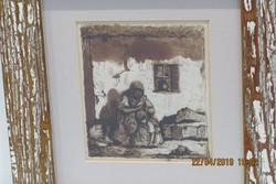 Baditz Ottó (1849-1936): Verőfényben a verandán (vázlat), tus