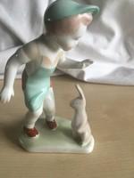 Kisfiú nyuszival-aquincumi porcelán