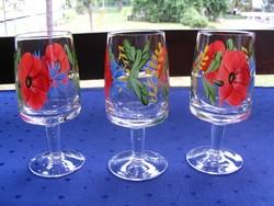 3 db, kézzel festett pohár együtt