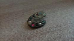 Antik Ritka Réz Festő Paletta Köves-Gyöngyös Bross