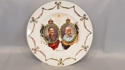 Ritka Ferenc József és Vilmos Császár portréjával díszített falitányér