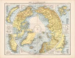 Északi - sarkvidék térkép 1881, német, eredeti, 41 x 53 cm, hátoldalán is térképek, Déli - sark