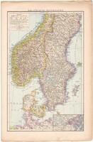 Dél - Skandinávia és Északnyugat - Franciaország térkép 1887, Európa, atlasz, eredeti, 28 x 42 cm