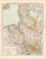 Hannover, Schleswig-Holstein térkép 1881, német, eredeti, 41 x 53 cm, Németország, Szilézia