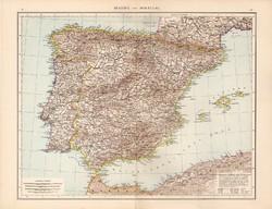 Spanyolország és Portugália térkép 1881, német, eredeti, 41 x 53 cm, hátoldalán is térképek, Belgium