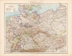 Németország (politikai) térkép 1881, német, eredeti, 41 x 53 cm, hátoldalán is térképek, nép, hegy