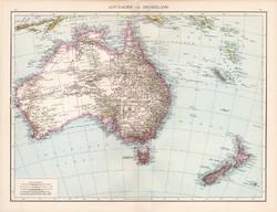 Ausztrália és Új - Zéland térkép 1881, eredeti, német, 41 x 53 cm, hátoldalán is térképek, Amerika