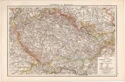 Csehország (Bohémia) és Morvaország térkép 1881, német, eredeti, Európa, XIX. század, atlasz
