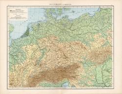 Németország hegy- és vízrajzi térkép 1881, német, eredeti, 41 x 53 cm, hátoldalán is térképek, óceán