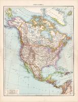 Észak - Amerika térkép 1881, német, eredeti, 41 x 53 cm, hátoldalán is térképek, Palesztina, Amerika
