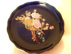 Zafírkék hibátlan díszes  porcelán ékszertartó