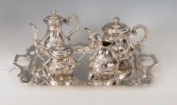 Ezüst barokkos kávés-/teáskészlet