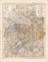 Rajnai tartomány, Vestfália, Hessen - Nassau térkép 1881, eredeti, 41x53 cm, hátoldalán is térképek