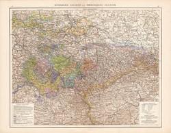 Szász királyság és a Türingiai államok térkép 1881, Németország, 41 x 53 cm, hátoldalán is térképek