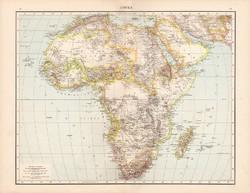 Afrika térkép 1881, német, eredeti, 41 x 53 cm, hátoldalán is térképek, Nílus vidéke, Senegambia