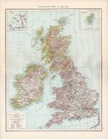 Nagy - Britannia és Írország térkép 1881, német, eredeti, Dánia, Hollandia, 41x53 cm, Anglia, Skócia