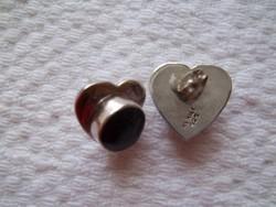 Ezüst fülbevaló onix kővel